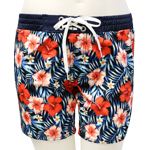 Red Hibiscus Mid-Thigh Length Boardshort