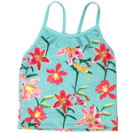 Tropical Orchid Kid's Flounce Front Tankini