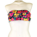 Tropical Flower 3-Tier Flounce Bandeau Top