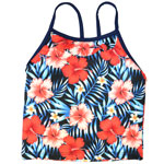 Red Hibiscus Kid's Racer Back Tankini
