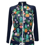 Pine and Flower Zipper Front Rashguard