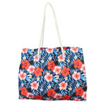 Red Hibiscus Rope Handle Tote Bag