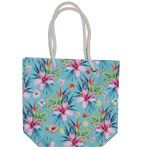 Floral Rope Handle Tote Bag