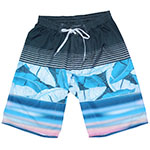 Cloudy Leaves Elastic Gathered Waist Men's Boardshort