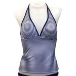 Basic Stripe Reversible Halter Tankini