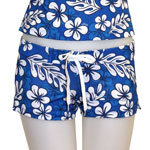 Blue Plumeria Fitted Shorts