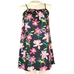 Tropical Orchid String Gathered Short Dress
