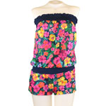Tropical Flower Strapless Romper