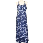 Floating Palm Flounce Front Maxi Dress