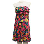 Tropical Flower 3-Tier Ruffled Front Dress