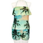 Palm Photo Flounce Front Romper